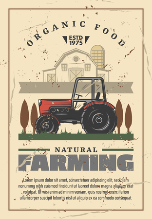Agriculture and natural farming. Powerful motor tractor with large wheels, rural landscape, country house and trees silhouettes. Organic food producing in countryside. Vector design Illustration