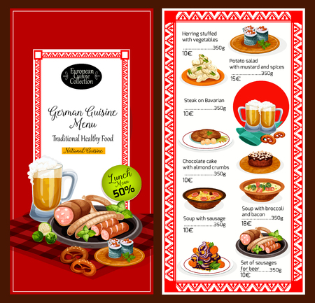 German national cuisine menu. Vector lunch herring stuffed with vegetables and potato salad with mushrooms and spices, steak on bavarian and chocolate cake