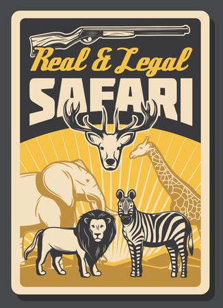 Safari african hunting vector poster with wild animals. Safari among lion and zebra, huge elephant and giraffe, gracious deer. Legal hunting club, shotgun rifle silhouette, hunting hobby sport