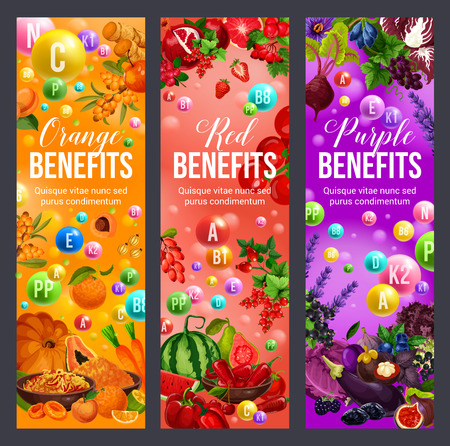 Benefits of color diet, vitamins A, B, D, fruits and vegetables. Vector apricot, peach and pumpkin, pepper, watermelon and strawberry, beet, eggplant and cabbage. Healthy nutrition theme Foto de archivo - 108884322