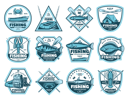 Fishing tournaments and camps icons. Fishery and hiking sport equipment vector signs. Backpack and inflatable boat, tent and crayfish, trout and crab, lobster and salmon, boots and paddles Illustration