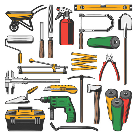 Repairing tools sketch icons. Metal cart and roll for paint, rulers and meter, sprayer and spade, ax and electric drill, kit and spatula, pick and wallpaper, hammer and nippers, chisel vector 일러스트