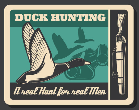 Duck hunting sport poster, flying bird and gun. Silhouette of wildlife ducks and rifle shotgun. Hunting club badge, poultry as trophy. Vector male hobby with weapon and binoculars, retro style Çizim