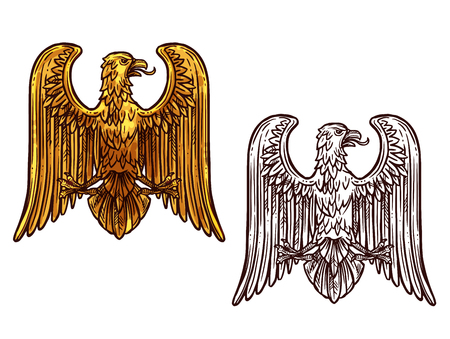 Heraldic eagle golden statue and sketch icon. Griffin coat of arms, hawk symbol of power and strength, outline golden eagle, vintage vector. Bird for tattoo, royal imperial of gothic predatory theme