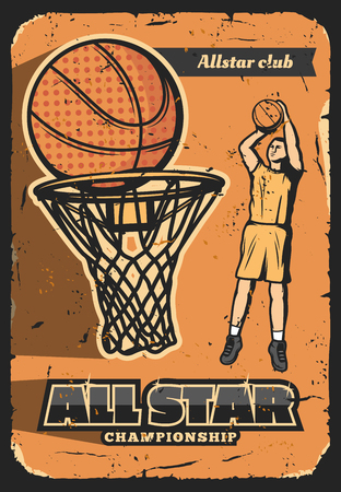 Basketball sport vector retro poster. All star championship, basketball player club for champions. Man throws ball into basket. National sport league, professionals, team game advertisement