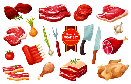 Butchery meat products and poultry, vegetables and cutting tools, vector. Pork and beef filet, fried chicken, mutton ribs, turkey and liver, knives and fork, cutlery hatcher