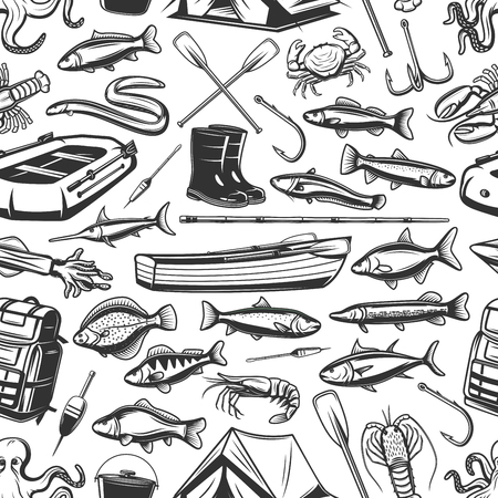 Fish and fishing gear monochrome seamless pattern. Inflatable and wooden boats, rod, hook, boots and backpack, bait and tent. Vector scad, mackerel and tuna, hake, sardine and sea eel