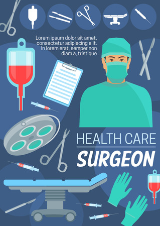 Surgeon doctor and health care. Vector medical equipment, blood pack, surgery operation table, gloves and metal tools, scalpel and lamp, sterile syringe and scissors, forceps. Doctor in mask