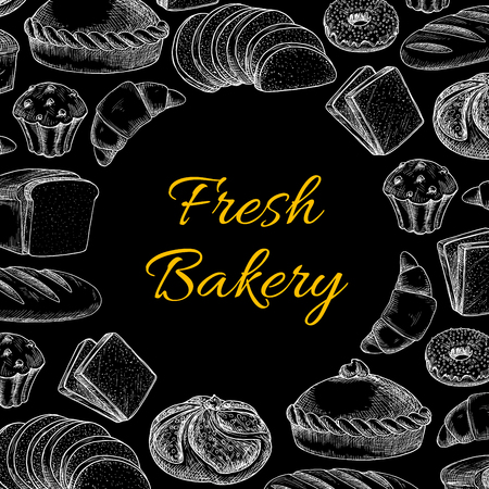 Vector sketch bakery, bread products. Croissants and cakes, buns and rolls, loaves of bread and bagels, flatbread and muffins, cracker and cookies, toasts and donuts on blackboard  イラスト・ベクター素材