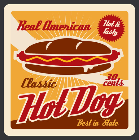 Hot dog, american fast food. Vector roll with sausage, ketchup and mustard, hot and tasty takeaway snack, nutrition fastfood meal on old leaflet. Bun and grilled sausage, hot sandwich Çizim