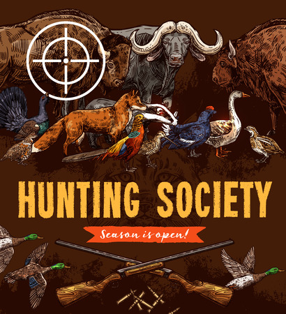 Hunting sport poster, animals and birds sketches. Vector wild ducks, buffalo and boar, fox and bison, goose, woodcock and turkey, quail and pheasant, partridge and grouse under target of gun