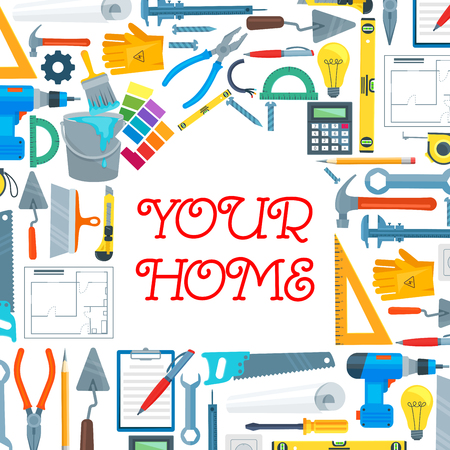 Home repair tools, fixing and mending items in house shape. Screwdrivers and pliers, adjustable and basin wrench, hand saw and hammer, paintbrush and rulers, gloves and lamp