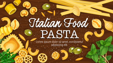 Italian food pasta macaroni and spaghetti of hard sorts. Vector fusillini and farfalle, pipe, rigate and rigatoni, lasagna, noodle and ravioli, penne on wooden board, basil and rosemary leaves 일러스트