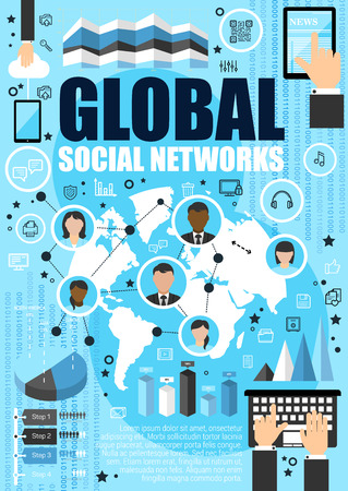 Global social networks, outline icons and people avatars on vector world map. Modern way to communicate via Internet in tablet, smartphone or computer. Socializing process, typing hands Illustration