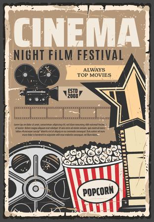 Bioscoop filmfestival vector retro affiche. Popcorn en camera, vintage haspel en projector. Ster en vintage streep, filmstudio met topfilms. Cinematografische media films, filmproductie