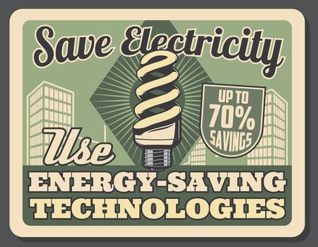 Retro-Poster für energiesparende Technologien. Kompaktleuchtstofflampe spart bis zu 70 Prozent. Vektorbroschüre auf Strom sparen Konzept, Glühbirne Energiequelle in modernen Gebäuden