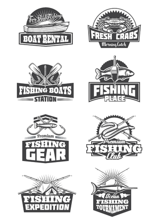 Fishery sport icons and symbols. Boat rental and crabs, boats station and gear, expedition trips and clubs. Fishing tournament monochrome vector fishing tackles, rod, hooks, bait and tent Illustration