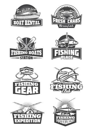 Visserij sport pictogrammen en symbolen. Bootverhuur en krabben, botenstation en uitrusting, expeditiereizen en clubs. Visserijtoernooi monochroom vector vistuig, hengel, haken, aas en tent Vector Illustratie