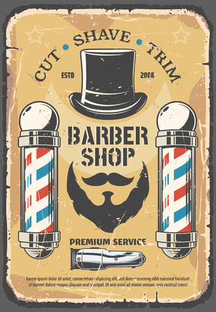 Barber shop, haircut industry service. Mustaches, beard and gentlemen hat, razor shaver icon. Cut, shave and trim services on retro vector leaflet. Haircut salon for men, vintage barbershop