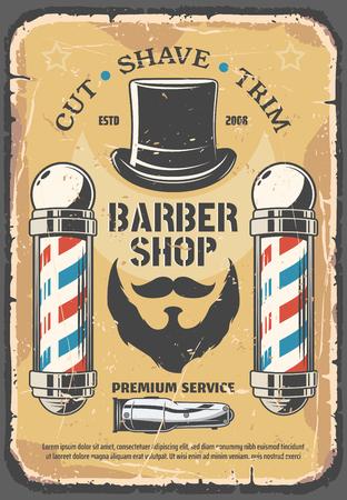 Friseurladen, Service für die Haarschnittindustrie. Schnurrbärte, Bart und Herrenhut, Rasiermesser-Rasier-Ikone. Schneiden, Rasieren und Trimmen von Dienstleistungen auf Retro-Vektorbroschüre. Friseursalon für Männer, Vintage Friseursalon Vektorgrafik