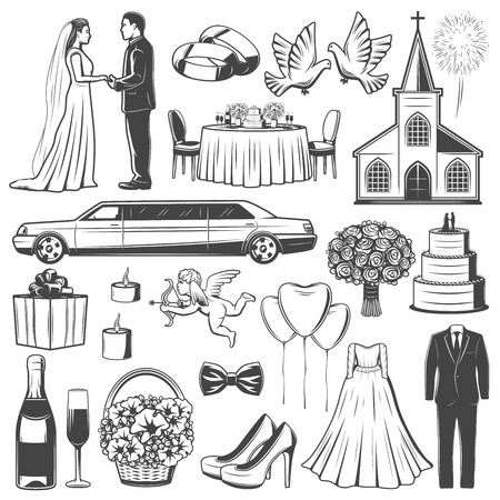 Wedding and marriage icons. Bride and groom, limousine and church, engagement accessories, glasses with champagne, cake, clothes and flowers, pigeons and balloons, dress, suit, doves and bouquet vector