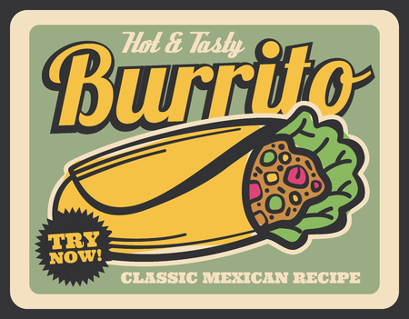 Hot and tasty burrito, mexican cuisine fast food. Tex-Mex dish of flour tortilla with chicken or beef and taco seasonings, rice, beans and lettuce. Try now sign on leaflet, takeaway snack vector