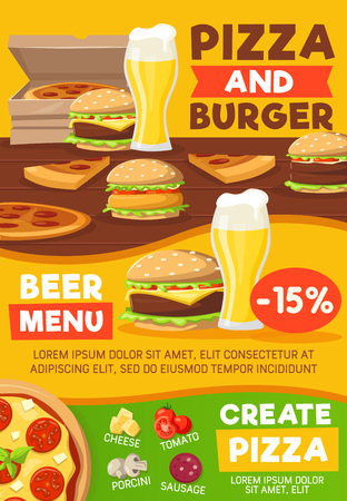 Pizza with burger and beer. Fastfood snacks with cheese and porcini, tomato and sausage. Tasty street food and fat meals, vector. Hamburger and cheeseburger, refreshing beer
