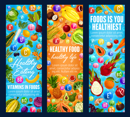 Vitamins A, B, C and minerals E, U, D in food healthy life banners. Exotic fruits and organic vegetables as components of proper nutrition. Dieting vegetarian food addends vector