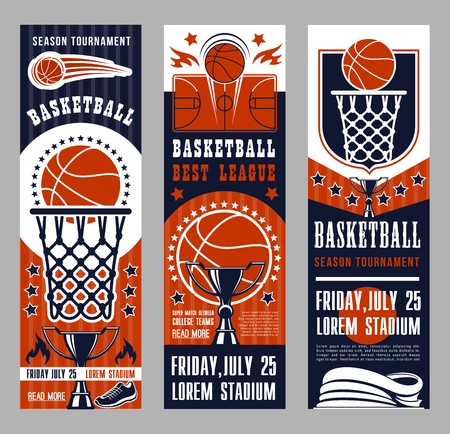 Basketball league tournament vector banners. Symbols of basketball sport team game as baskets on backboards, courts and ball, prize cup and playing field, sportive shoes and winning trophies leaflets Illustration