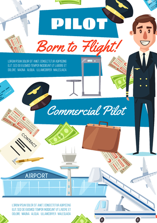 Pilot hiring, aviator carrier. Man in uniform and icons of plane, contract list, money and airport, hat and tickets, suitcase and boarding pass, rudder gangway aircraft exit. Vector illustrator