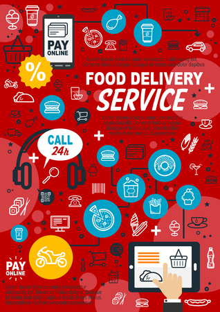 Food delivery service, mobile device for fast order. Fast food and international cuisine icons, pay online vector signs of car and trolley, pizza and hamburger, desserts and discount