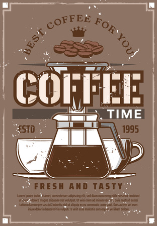 Coffee time, fresh and tasty hot drink in cups and kettle. Vector coffee restaurant or cafeteria, beans and crown, vintage filter coffee machine or espresso maker, moka pot icon