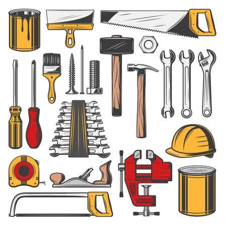 Construction tools set, vector icons. Carpentry and building, professional toolbox with tools. Vector hammers and screwdrivers, rulers and wrenches, hard hat, paint brush, saws and spatula icons Vettoriali