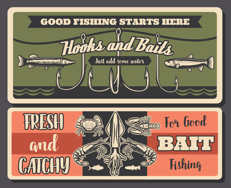 Hooks and baits fishing banners, fishery equipment. Vector crayfish and crabs, shrimps and octopus, pike and perch silhouettes. Fish, fishery gear, fishing sport hobby retro poster  イラスト・ベクター素材