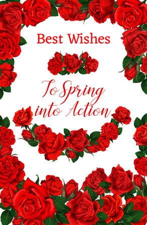 Spring best wishes floral poster for springtime season holiday greeting card. Vector frame of red roses and pink flowers bunches of blooming garden blossoms and flourish ribbons in bouquets design