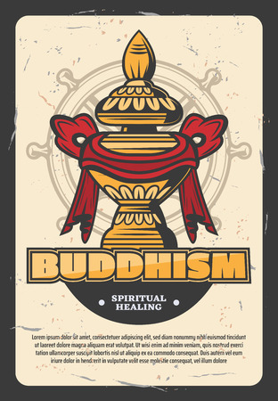 Oriental religion Buddhism vector poster. Gold monks vessel for food wrapped in ribbon. Religious holy attribute of India and China on navigation wheel. Spiritual healing through faith and believe