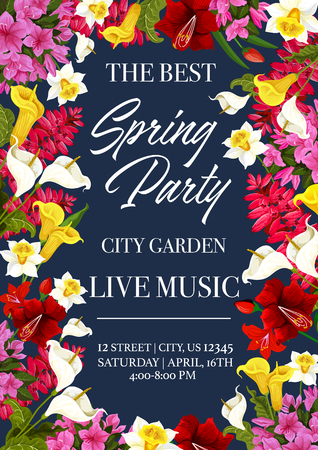 Spring time music festival invitation poster or card for city garden seasonal holiday event. Vector design of floral bunches and frame wreath of spring daffodil, lilac or hibiscus blooming flowers Illustration