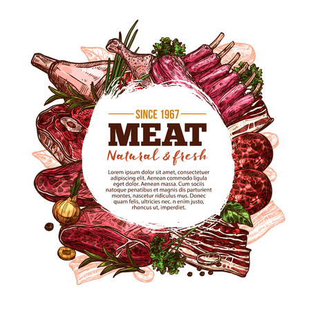 Fresh meat poster with beef, pork and chicken meat. Beef steak, pork ribs and tenderloin, ham, bacon and chicken leg, bbq burger patty and lamb chop round label with spice herb for butcher shop design