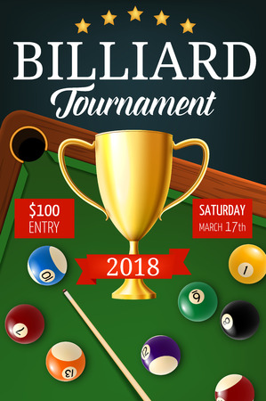 Pool billiards tournament announcement. Gold trophy cup, color balls with numbers and snooker cues on green table with holes. Billiard team championship, sport game vector