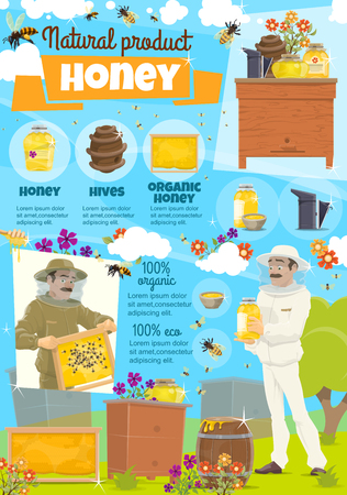 Honey apiary and beekeeping. Beekeeper in protective clothing among bees and honeycomb. Beehives and containers, barrel and jars, flowers for pollination at country farm. Vector natural honey