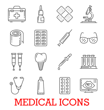 Medical thin line icons of dentistry, ophthalmology or therapy medicine. Vector isolated set of first aid kit, pills or dentist toot and injury patch, microscope or stethoscope and glasses