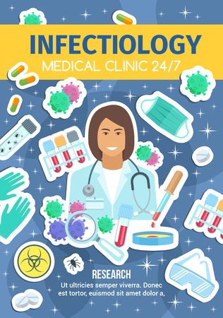 Infectiology infectious disease doctor. Stethoscope, pills and bacteria, gloves and mask, goggles, blood samples, flasks and capsules, germs insect. Medical clinic viral research center, vector