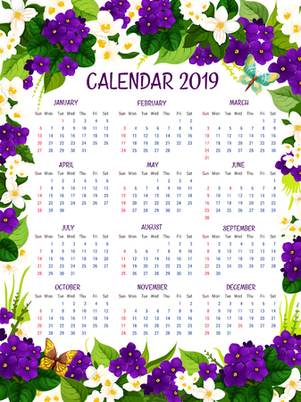 2019 calendar of blue crocuses and violets spring flowers. Vector floral design of blooming garden flourish springtime or summertime crocus blossoms for flowery 2019 monthly calendar