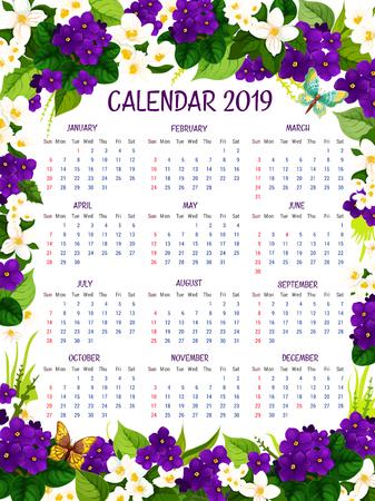 Calendrier 2019 des crocus bleus et violettes fleurs de printemps. Vector design floral de jardin fleuri s'épanouir au printemps ou en été crocus fleurs pour le calendrier mensuel fleuri 2019