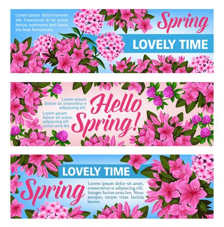 Pink flower banner set for Spring Season holiday celebration. Purple blossom of clover, phlox and azalea flower, green leaf and floral branch festive flyer for Springtime themes design