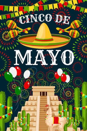 Tarjeta de felicitación del Cinco de Mayo para la celebración de fiestas tradicionales mexicanas. Vector sombrero y globos de bandera de México en pirámide azteca o maya, cactus y fuegos artificiales para el diseño del Cinco de Mayo