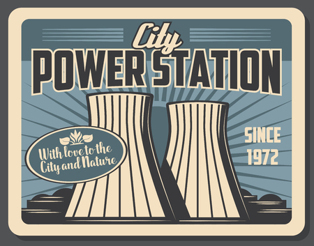 City power station with factory pipes. Powerful plant to supply city with energy. Industrial construction produces fuel or petrol and heating in downtown. Vector signboard design