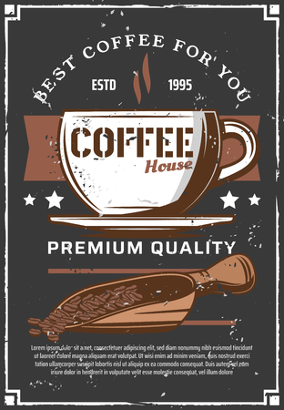 Coffee in cup on saucer with steam. Coffee beans in scoop, shop or cafeteria leaflet. Natural drink mug of americano, espresso or latte. Vintage cafe or bar menu, vector hot beverage