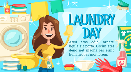Housewife doing laundry and household chores poster. Woman cleaning window, washing machine and basin, detergent and clean bowl, clothes on line, brush and sponge, thread coils and sprayer vector