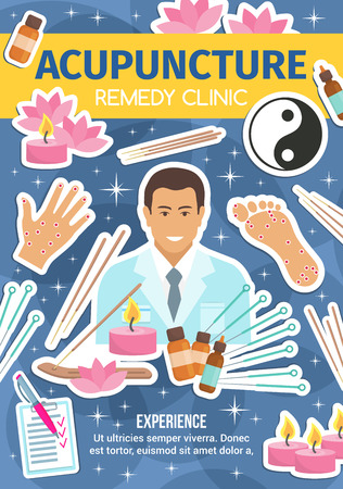 Acupuncture Chinese alternative medicine. Doctor and needles, acupoints in foot and palm, incense sticks, candle and oil bottles, yin and yang sign, lotus flower. Oriental spa salon, vector Stock Vector - 108884506